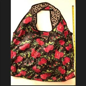Betsey Johnson Sequin Floral Print Tote Bag